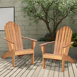 2 pcs outdoor adirondack chair solid wood