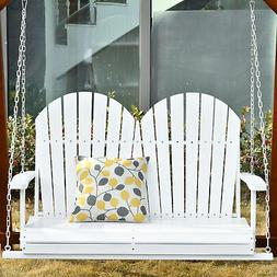 Outsunny 2-Person Outdoor Patio Porch Swing Bench w/ Solid W