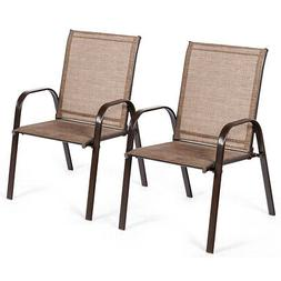 2PCS Patio Chairs Outdoor Dining Chairs with Armrest for Por