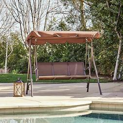3-Person Patio Swing Canopy Awning Outdoor Hammock Steel -Br