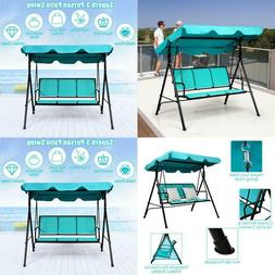 3-Person Polyester Patio Swing Canopy Yard Furniture with Gr