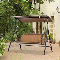 Outsunny 3-Person Porch Patio Swing w/ Weather-Fighting Tilt