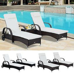 Outsunny 3pc Wheeled Patio Rattan Lounge Set Adjustable Recl