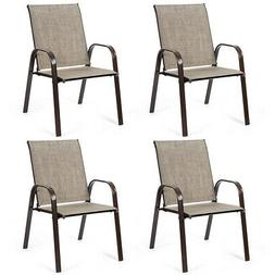 4PCS Patio Chairs Outdoor Dining Chairs with Armrest for Por