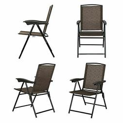 4PCS Patio Outdoor Garden Foldable Sling Chair Steel  Armres
