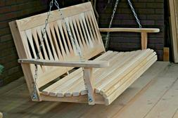 5ft Cypress Wood Diamond Porch Bench Swing With Hanging Hard