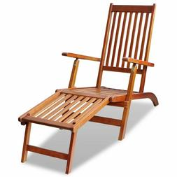 """66"""" Outdoor Deck Chair with Footrest Solid Acacia Wood Folda"""