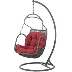 Arbor Outdoor Patio Wood Swing Hanging Chair Red - Modway Ou