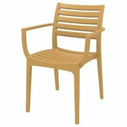 Compamia Artemis Outdoor Patio Dining Arm Chair in Teak Brow