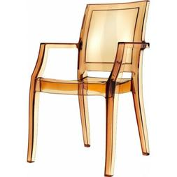 Compamia Arthur Polycarbonate Modern Dining Chair, Clear Amb