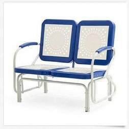 Outdoor Glider 2 Seat Patio Metal Retro Bench Seating Blue G