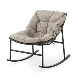 Brown Wicker Rocking Chair Modern Armless Outdoor Porch Pati