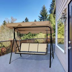 Costway Outdoor Patio Swing Canopy 3 Person Canopy Swing Cha