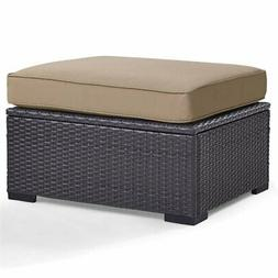 Crosley Biscayne Patio Ottoman in Brown and Mocha