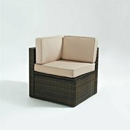 Crosley Palm Harbor Wicker Corner Patio Chair in Brown and S