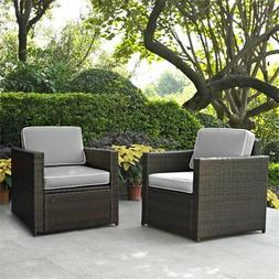Crosley Palm Harbor Wicker Patio Arm Chair in Brown and Gray