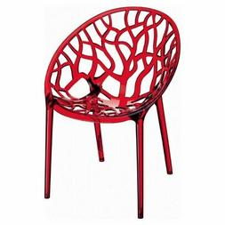 Crystal Polycarbonate Modern Dining Chair Transparent Red Se