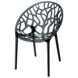 Compamia Crystal Polycarbonate Patio Dining Chair in Black