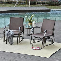 Outsunny Double Patio Glider With Tea Table, Tempered Glass,