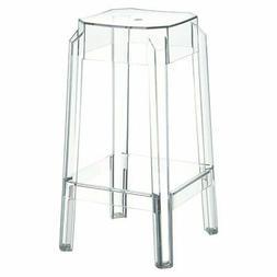 "Compamia Fox 26"" Polycarbonate Patio Counter Stool in Transp"