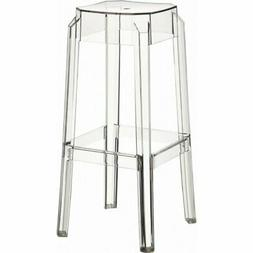 "Compamia Fox 30"" Polycarbonate Patio Bar Stool in Clear Tran"