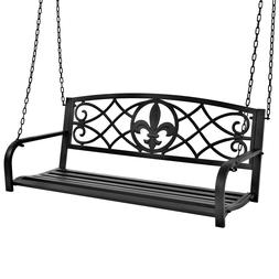 Outdoor Furniture Metal Fleur-De-Lis Hanging Patio Porch Swi