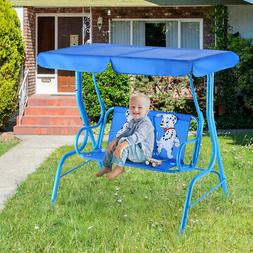 Kids Patio Swing Bench Tilt Canopy Porch Tent 2 Seater Outdo