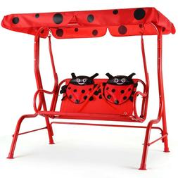 Kids Patio Swing Ladybug Removable Canopy 2 Person with Seat