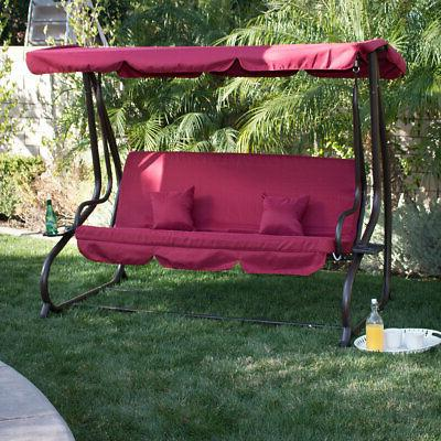 3 person outdoor swing w canopy seat