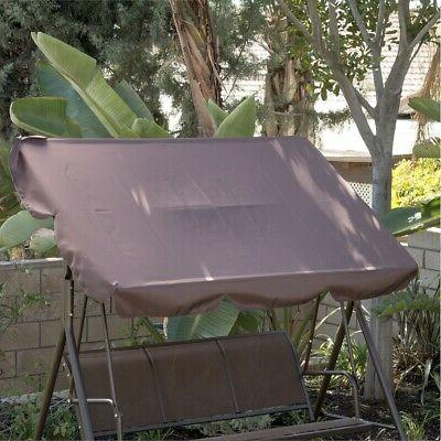 3-Person Swing Canopy Awning Outdoor -Brown