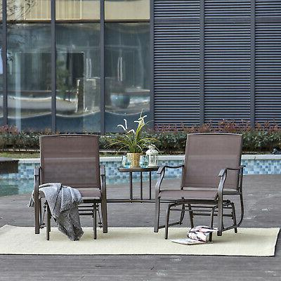 double patio glider with tea table ergonomically