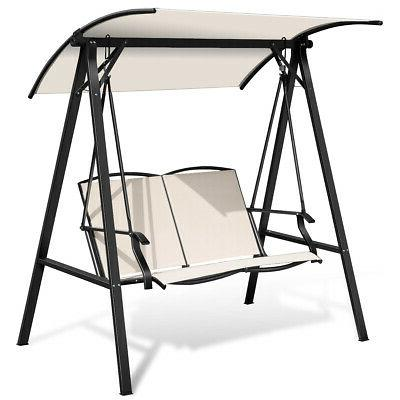 outdoor 2 seat swing loveseat with canopy