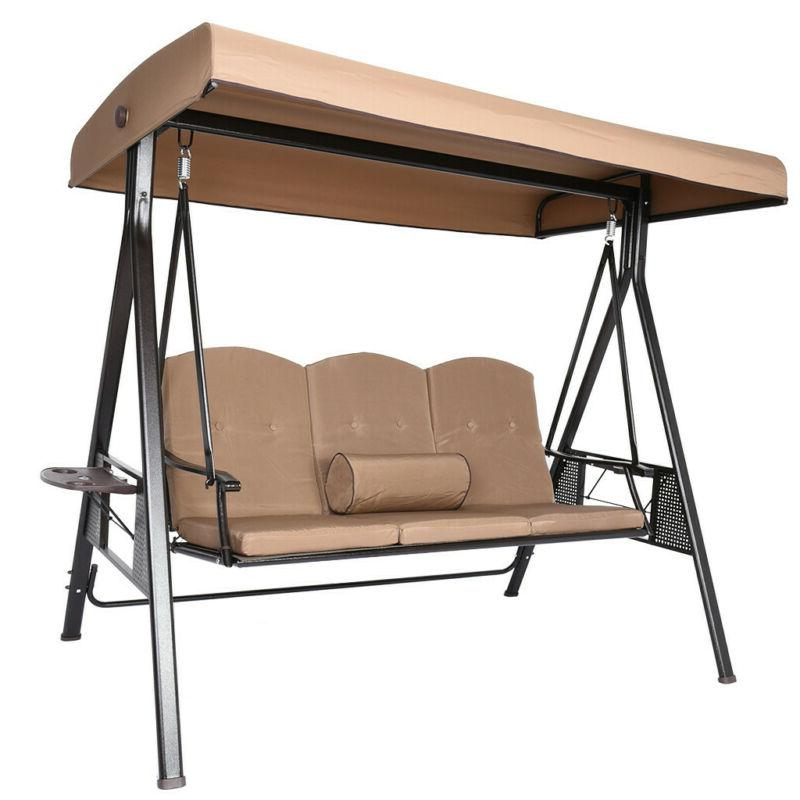 3 Person Outdoor Patio Swing with Strong Weather Resistant P