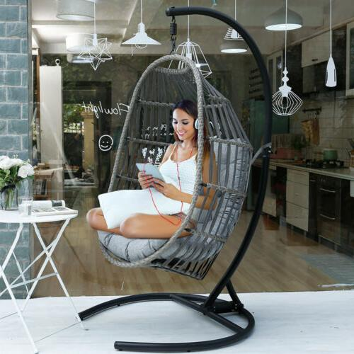 Outdoor Hanging Egg w/ Stand Porch Cushions