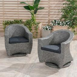 Larchmont Patio Swivel Chairs, Wicker with Outdoor Cushions,