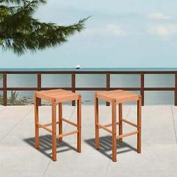 Amazonia Magic 2 Piece Patio Backless Barstool Set Brown N/A