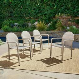 New Chateau Grey Outdoor Patio Wicker Armed Stack Chairs Alu