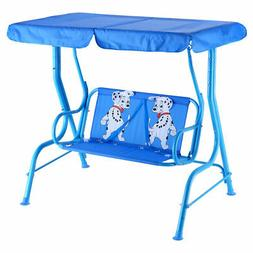 Outdoor Kids Patio Swing Bench with Canopy 2 Seats OP3036