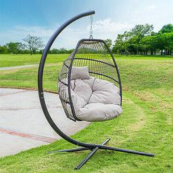 Outdoor Large Lounge Chair Patio Hanging Egg Seat Swing Cush
