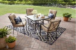 OUTDOOR PATIO DINING SET, Cushioned Metal 5 Piece, Tan Fores