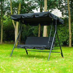 Porch Swing Hammock Bench Lounge Chair Steel 3-seat Padded O