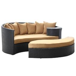 Polarity Outdoor Rattan Daybed with Ottoman in Espresso with