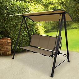 Porch Swing With Polyester Sling Canopy Outdoor Patio Furnit