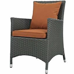 LexMod Sojourn Dining Outdoor Patio Armchair, Sunbrella Canv