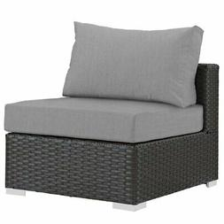 Modway Sojourn Patio Armless Chair in Canvas Gray and Chocol