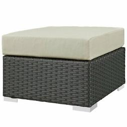 Modway Sojourn Patio Square Ottoman in Canvas Antique Beige