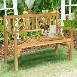 Solid Wood Chippendale Patio Foldable Bench with Curved Back