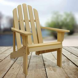 Solid Wood Folding Adirondack Chair Natural Outdoor Lounger