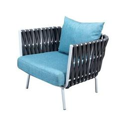 LeisureMod Spencer Outdoor Patio Rope Frame Club Chairs With