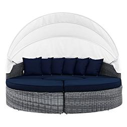 LexMod Summon Canopy Outdoor Patio Daybed, Canvas Navy